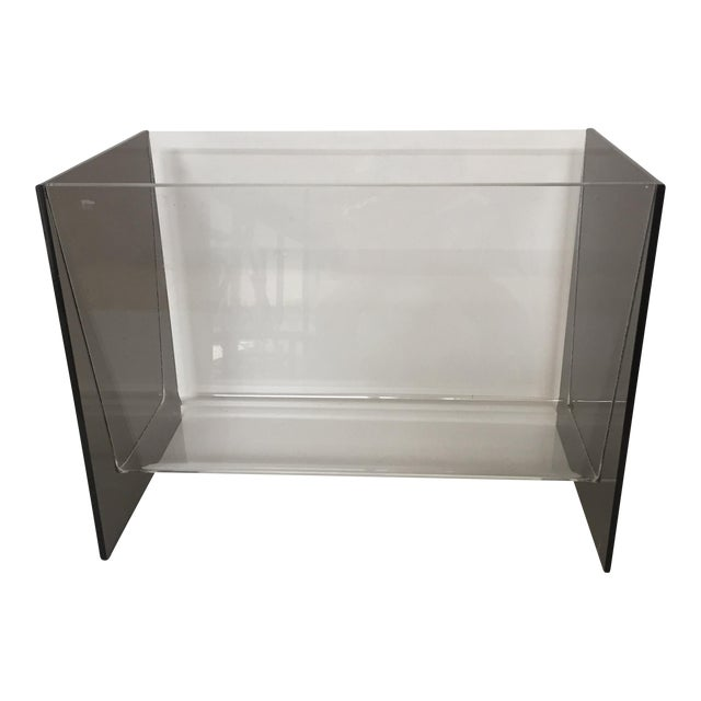 Clear & Smoky Grey Lucite Magazine Holder - Image 1 of 8