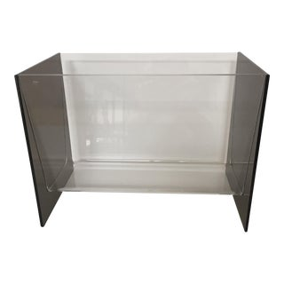 Clear & Smoky Grey Lucite Magazine Holder