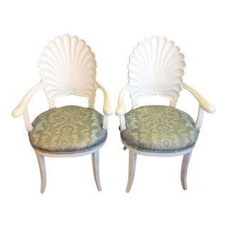 Scalloped Back Armchairs - a Pair