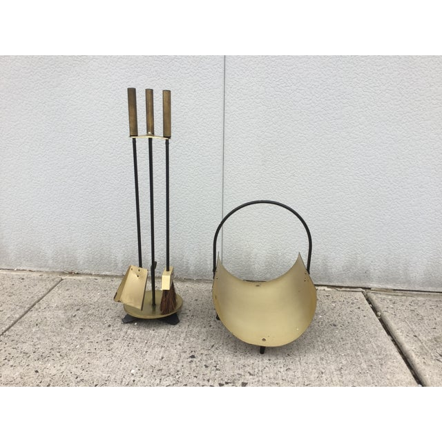 1960s Modernist Brass Fireplace Tools & Holder Set - Image 2 of 10