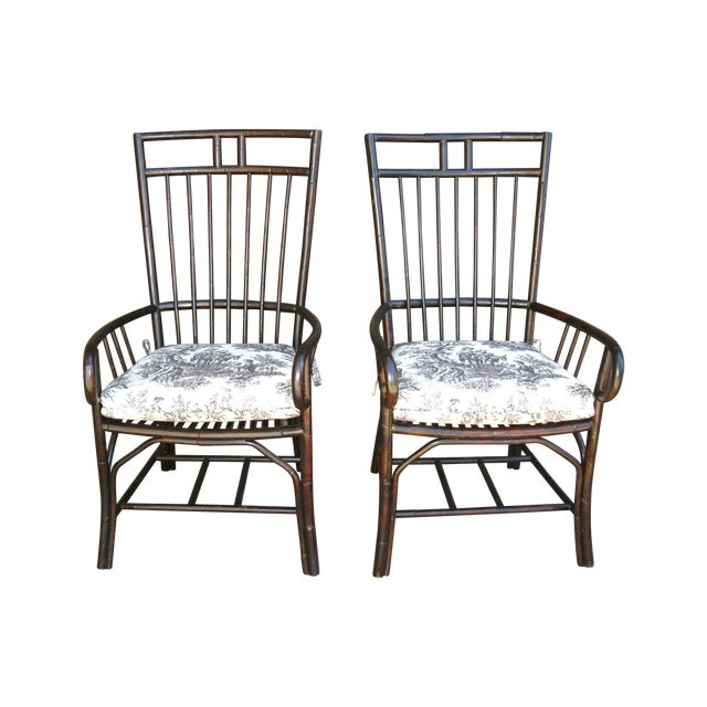Black French Country Style Bamboo Chairs - Pair - Image 1 of 11
