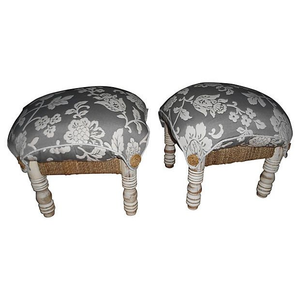 Image of Pillow-Top Ottomans in Gray/White - A Pair