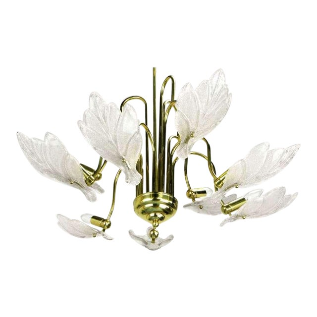 Nine Arm Murano Glass Leaf Chandelier In The Style Of Barovier & Toso - Image 1 of 5