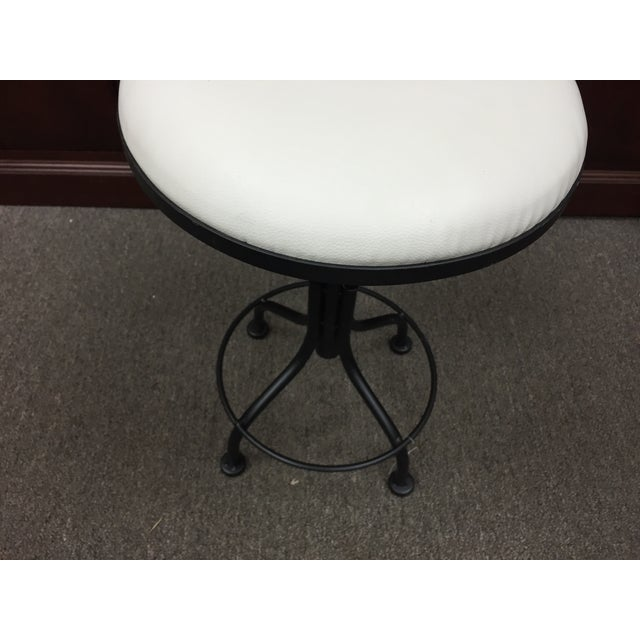 Round Leather Stool with Metal Legs - Image 4 of 7