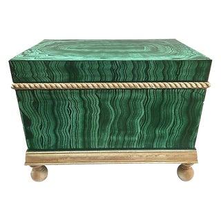 Faux-Malachite Hand-Painted Box