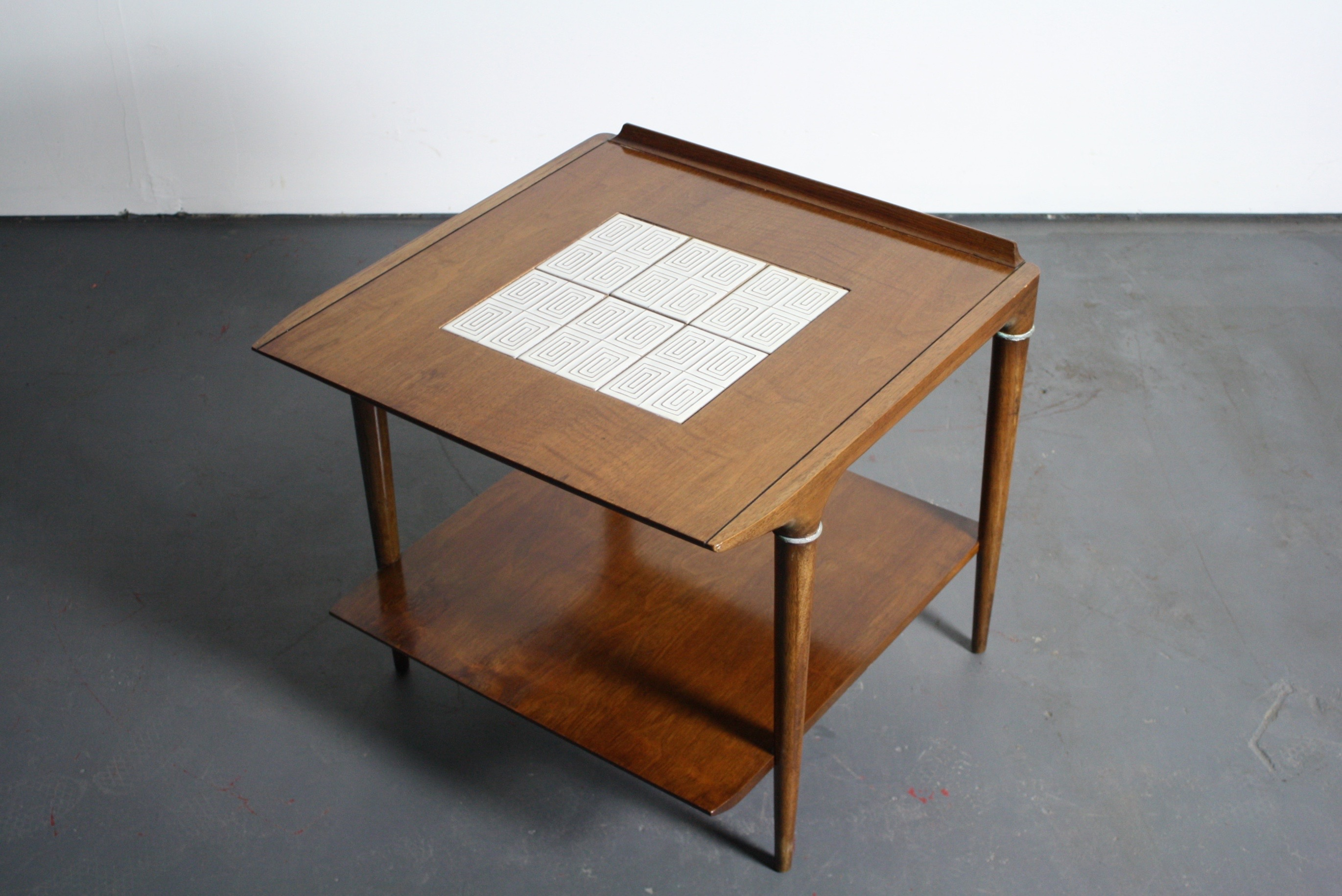 mid century lane teak end table with tile inlay image 2 of 5