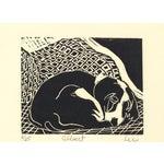 Image of 1960s Dog Woodblock Print, Signed Original