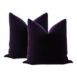 Eggplant Velvet Pillows - A Pair