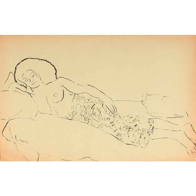 Helen Rennie Vintage Reclining Figure Ink Drawing - Image 1 of 2