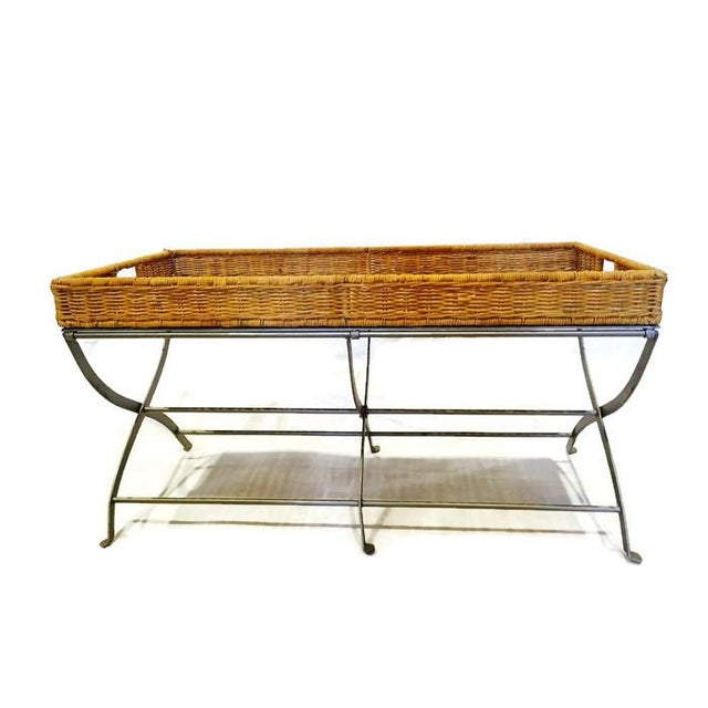 Boho Rattan Metal X Base Tray Coffee Table Chairish