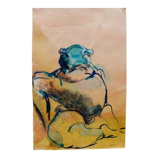 """Reclining Male"" Ink, Charcoal, and Pastel Drawing By Martha Holden"