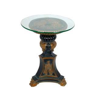Hollywood Regency Style Glass Side Table