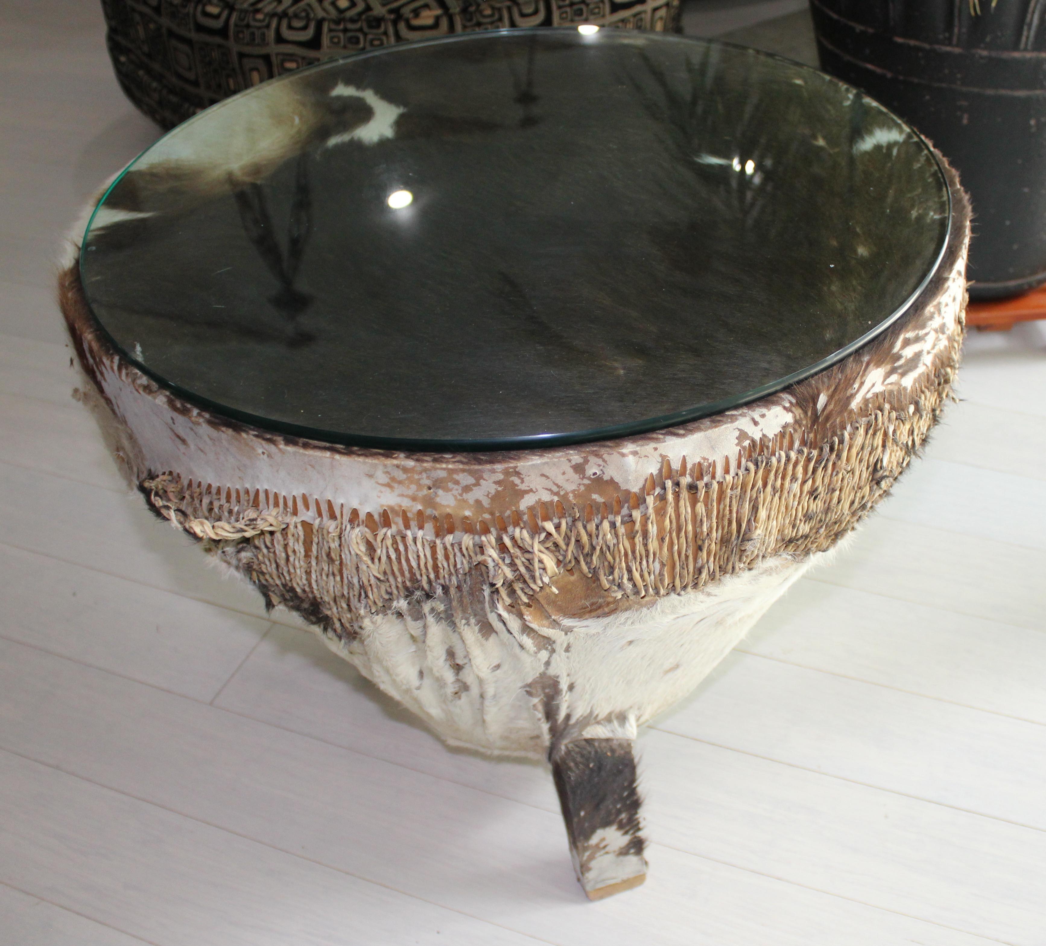 Vintage African Round Cowhide Drum Table   Image 3 Of 5