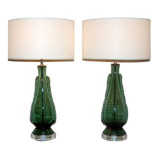 Green Murano Lamps with Rigaree