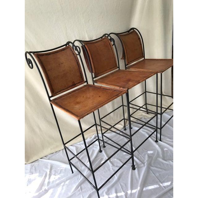 Scrolled Iron & Leather Bar Stools - Set of 3 - Image 3 of 11