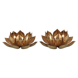 Parzinger Style Brass Lotus Candle Holders -A Pair