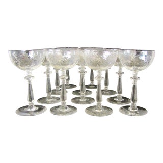 Large Antique Thistle Champagne Coupes - Set of 10