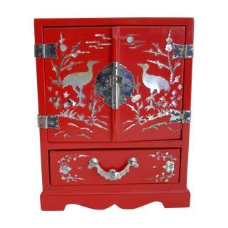 Chinese Red Lacquered Jewelry Chest