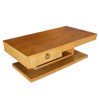 Large Architectonic Coffee Table with Bronze Pull by Lane