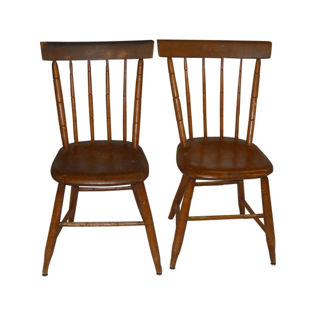 Antique Traditional Wooden Chairs - A Pair - Image 1 of 6