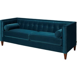 Teal Blue Velvet Tufted Sofa