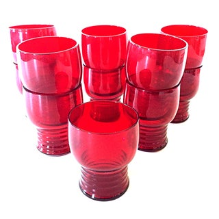 Cranberry Glass Glasses - Set of 11