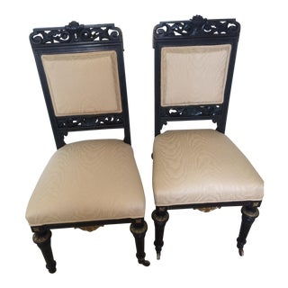 Pair of Antique French Ebony Upholstered Carved Side Chairs