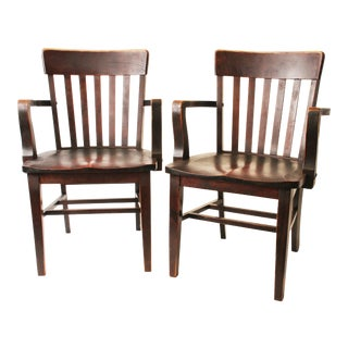 Antique Wood Banker Armchairs - A Pair