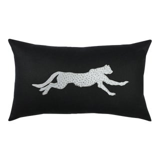Black & Silver Cheetah Lumbar Pillow