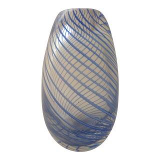 Murano Mid Century Glass Blue Swirl Vase