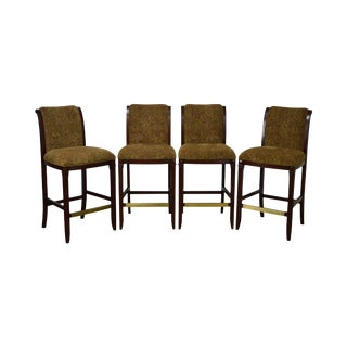 Drexel Mahogany Frame & Upholstered Bar Stools - Set of 4