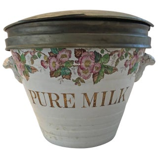 Porcelain & Brass Milk Container