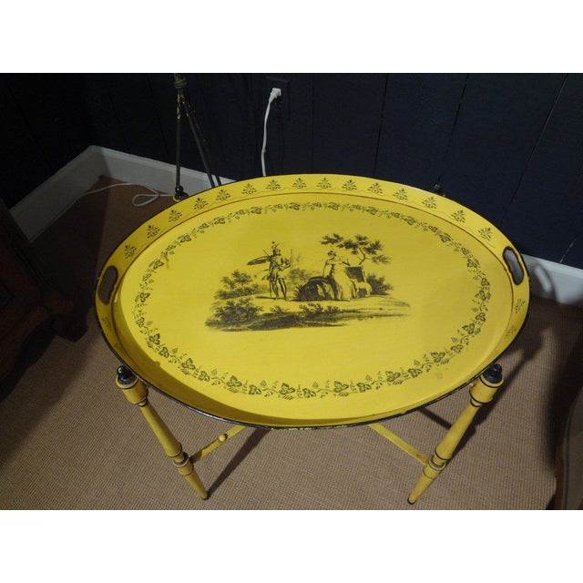 Italian Neoclassical Style Tole Tray Table - Image 2 of 7