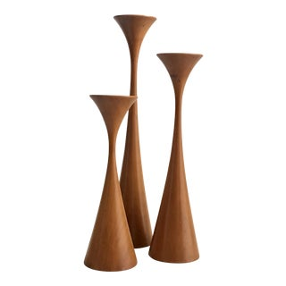 Danish Modern Teak Candle Holders - Set of 3