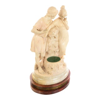 19th Century Antique Italian Two Lovers Alabaster Sculpture