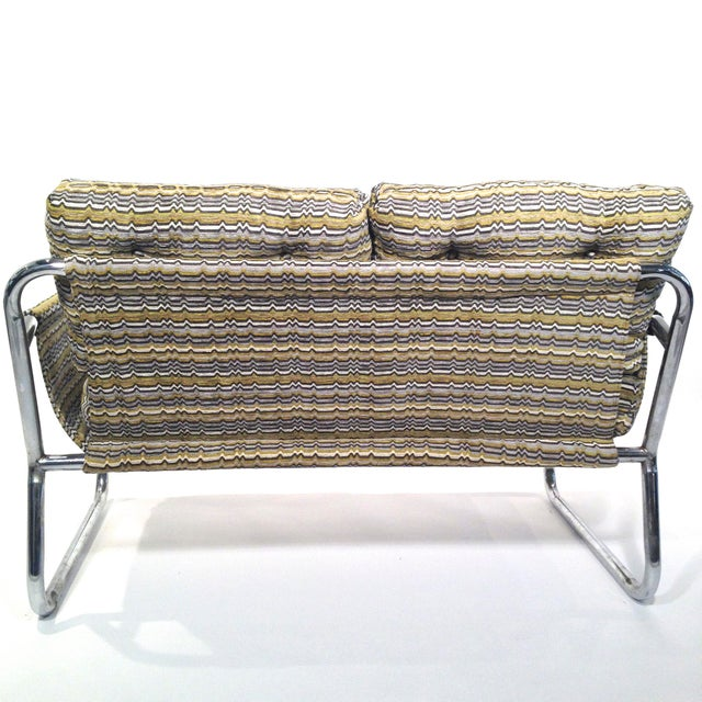 Zermatt Tubular Chrome Sling-Back Settee - Image 5 of 6