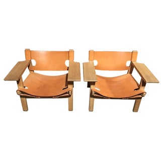 Spanish Leather Sling Back Chairs