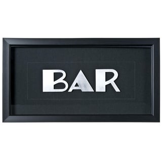 "Framed Vintage French Aluminum ""BAR"" Letters"