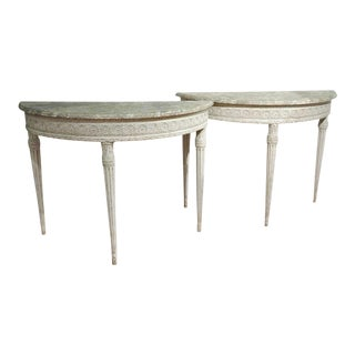 19th Century Louis XVI Painted Demilune Console Tables - A Pair