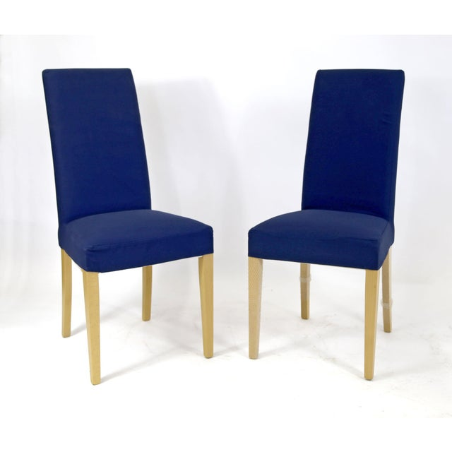 Upholstered High Back Dining Chair: Blue Upholstered High Back Dining Chairs With Maple