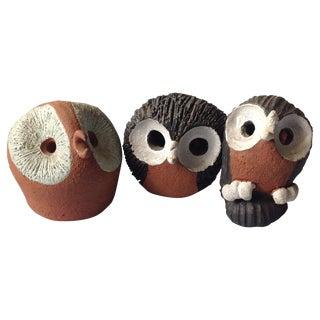 Mid-Century Modern Studio Pottery Owls - Set of 3