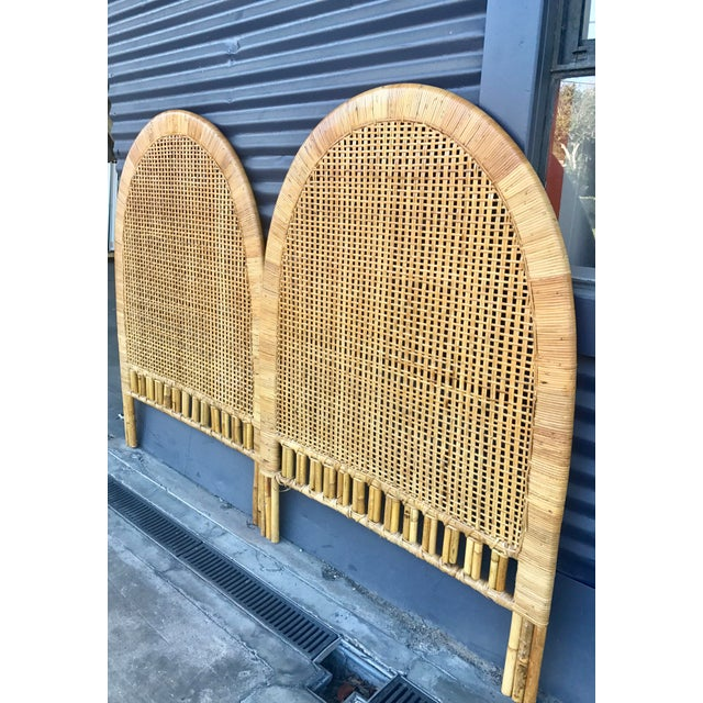 Vintage Rattan Caning Twin Headboards - A Pair - Image 4 of 10