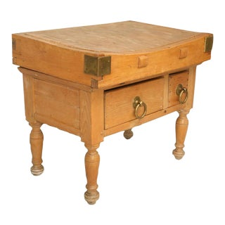 Circa 1920 American Maple Butcher Block With Drawers