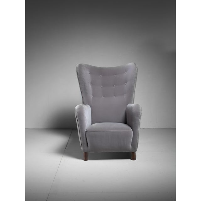 Fritz Hansen High Wingback Grey Velour Lounge Chair, Denmark, 1940s - Image 3 of 5