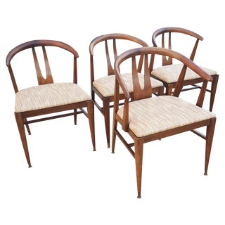 "Walnut ""Wishbone"" Dining Chairs - Set of Four"