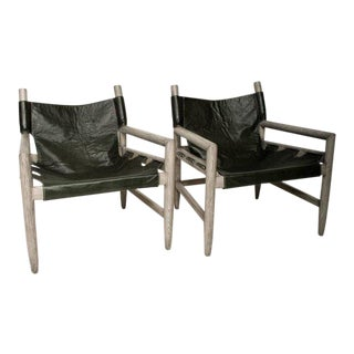 Mid-Century Modern Pair of Safari Lounge Chairs