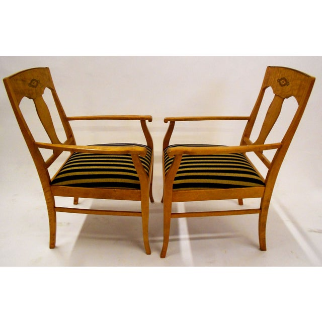 Image of Swedish Jugendstil Birch Armchairs - A Pair