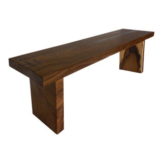 Organic Modern Wood Slab Console Table with Pewter Inlay