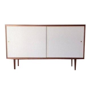 Mid-Century Style Custom White Perforated Credenza