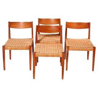 1960s Danish Teak & Papercord Chairs - Set of 4